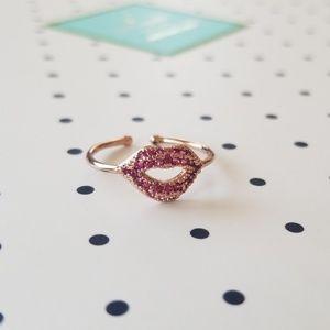 NWOT kate spade rose gold lips ring